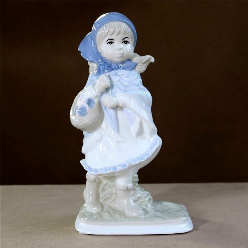 Porcelana do vintage Country Girl Donzela Estátua Escultura Cerâmica Artesanal Para Casa Personagem de Contos populares Presente Decor Ornamento Do Ofício