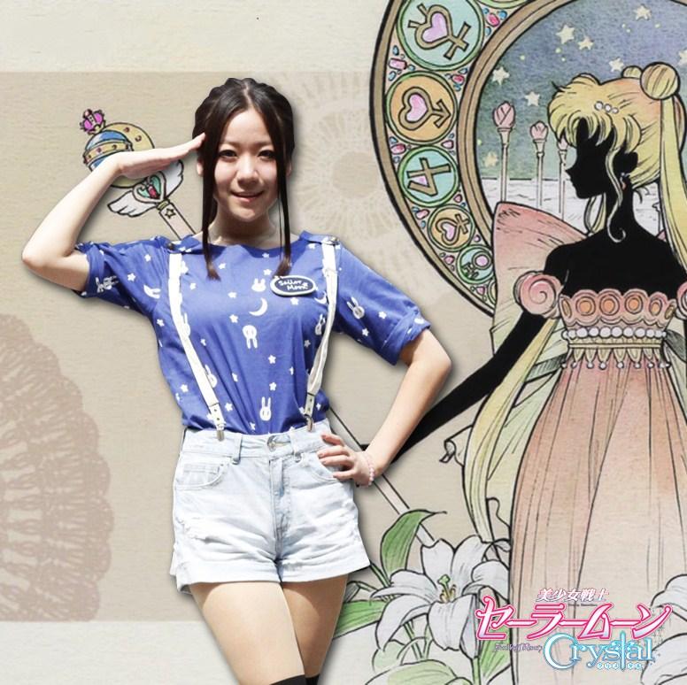 Sailor Moon Luna Cosplay disfraces nuevo patrón Japón y Sur versión coreana de la camiseta de las mujeres imprimir lindo conejo Casual Wear