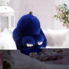 18 cm Rex lapin Furs porte-clés pendentif sac voiture charme mignon Mini lapin jouet poupée vraie fourrure porte-clés femmes sac porte-clés Fi-K015-blue