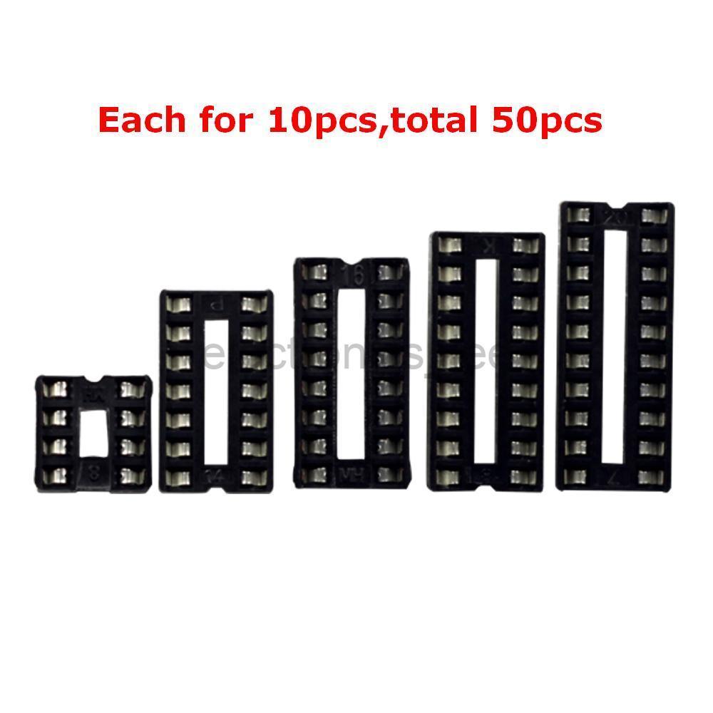 50 Uds 8 14 16 18 20 Pin DIP IC conectores adaptador de toma de corriente tipo soldadura