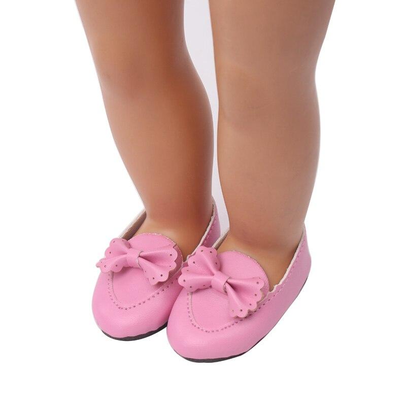 В кукольном стиле розового цвета с бантом, обувь, размеры 18 дюймов куклы и 43 см для ухода за ребенком для мам baby Doll аксессуары для детской под...