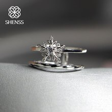 SHENSS Elegant Quality  925 Silver Rings Sweet Zircon Double Open Snowflake Ring SR0030