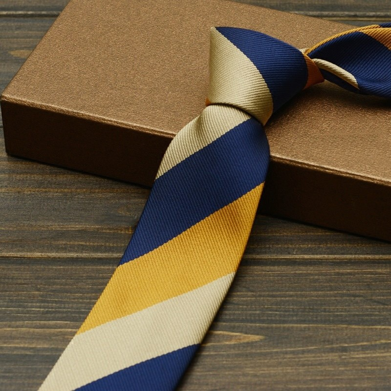 Fashion 6cm Ties for Men Casual Necktie Skinny Brand Neckties Blue Yellow Striped Boys Office Microfiber Slim Ties with Gift Box