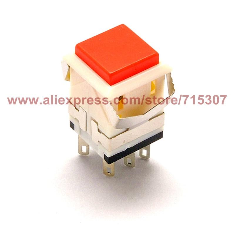 Interruptor de botón de pulsación de 10 piezas PHISCALE KD2-24 botón de Reinicio no iluminado rojo DPDT 6 pines 3A 250V