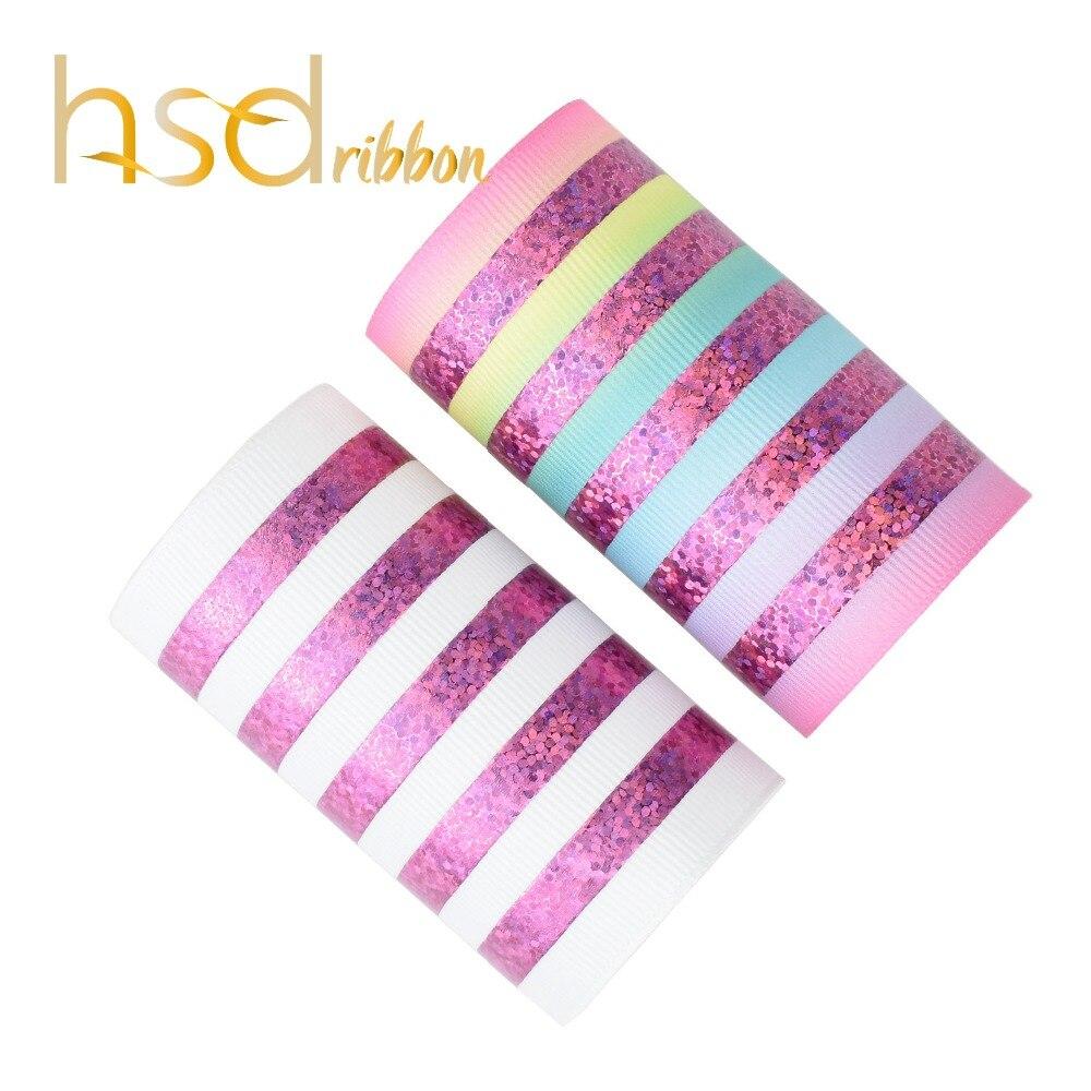 HSDRibbon 75mm 3 pulgadas lámina láser Rosa horizontal sobre cinta de Grosgrain blanco sólido y HT