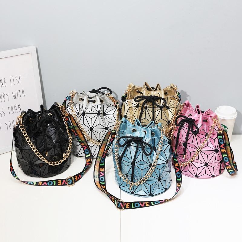 Multifunction Women Fashion Geometric Bao Bucket Shoulder Bag Lady Leisure Beautiful Stylish Korean Chain Crossbody Hand Bags