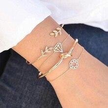 Tocona 4 unids/set de moda, hoja Bohemia, nudo, mano, brazalete, cadena, encanto, brazalete para mujer, pulseras de oro, joyería para mujer 6115