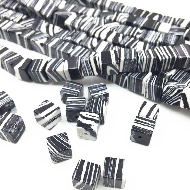 Turquia turquesa encaixe de pedra zebra diy contas soltas cubo preto branco calaite pedras 6mm 8mm jóias fazendo artesanato 15 polegada a182