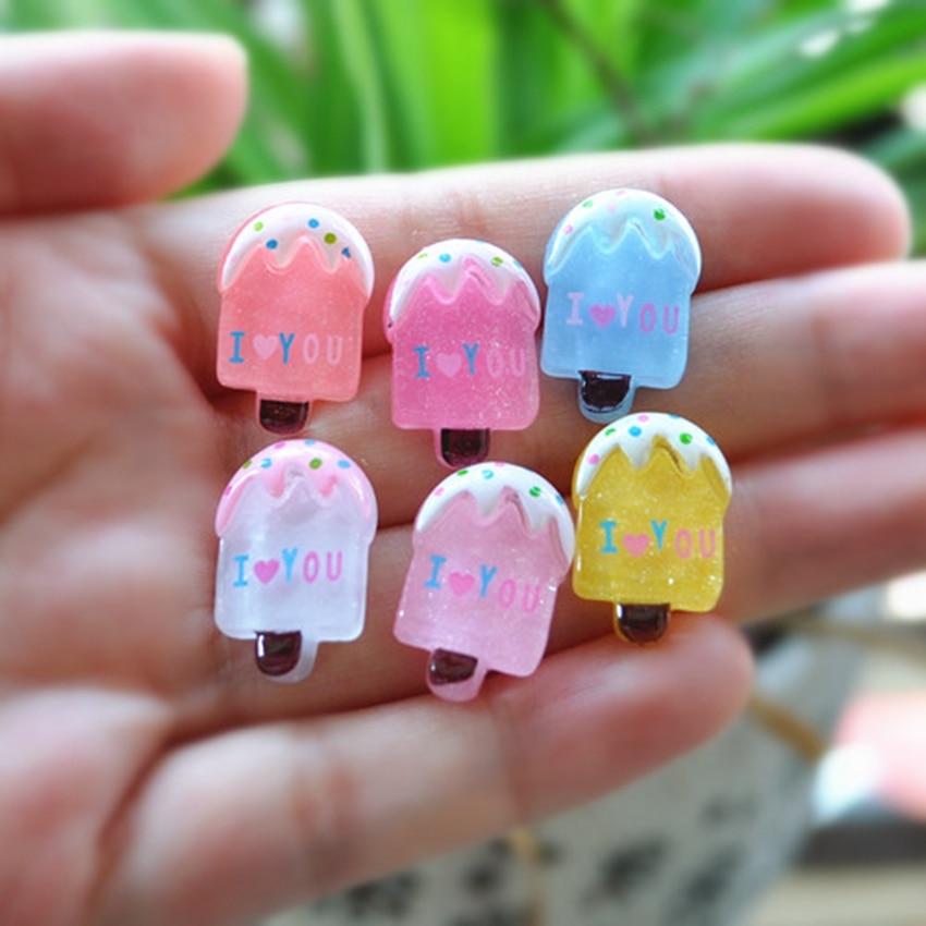 30 unids/lote plana helado hecho de resina Kawaii accesorio para helado cabujones Botoes comida de resina para la decoración de DIY-mezclado 10 diseños