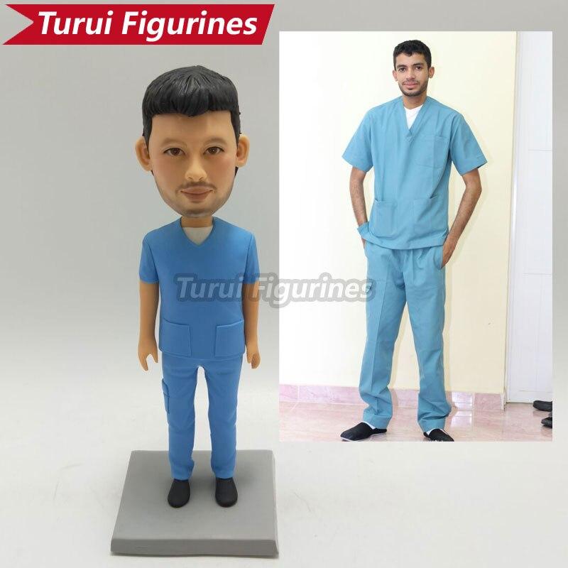 Figura de escultura hecha a mano de Doctor miniestatua de arcilla polimérica, de personalización de foto, diseño de Bobblehead, bobble head de Turui figurillas