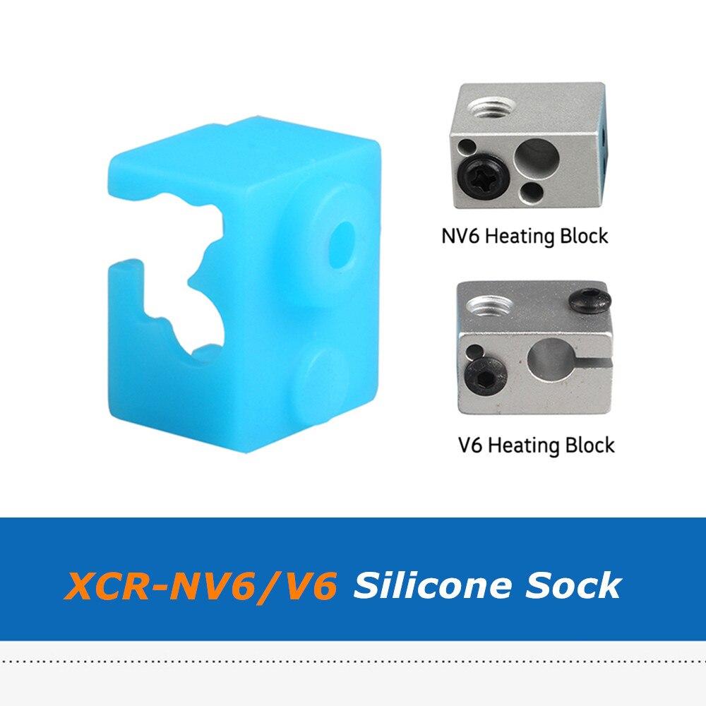 2 uds. Piezas azules de la impresora Ledge 3D XCR-NV6 E3D-V6 bloque de calor calcetín de silicona, nueva funda protectora