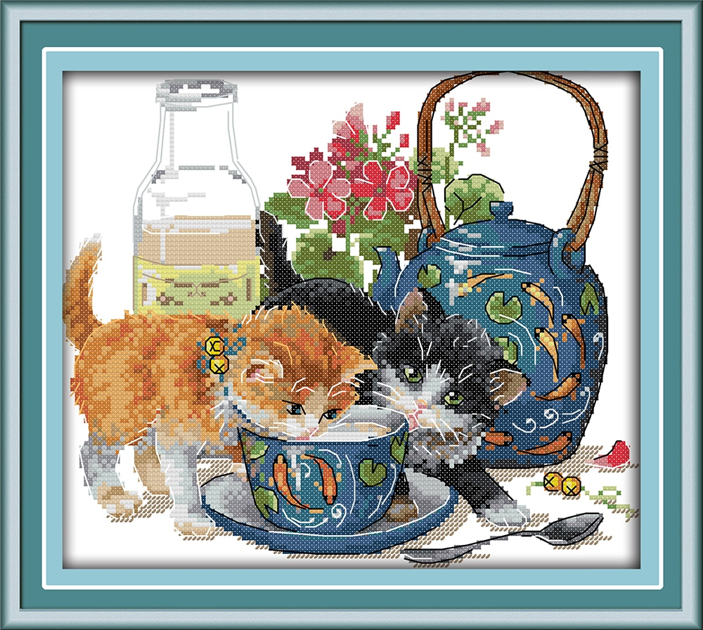 Набор для вышивки крестом Curious cat хлопковый шелк aida 14ct 11ct холсты стежков с принтом