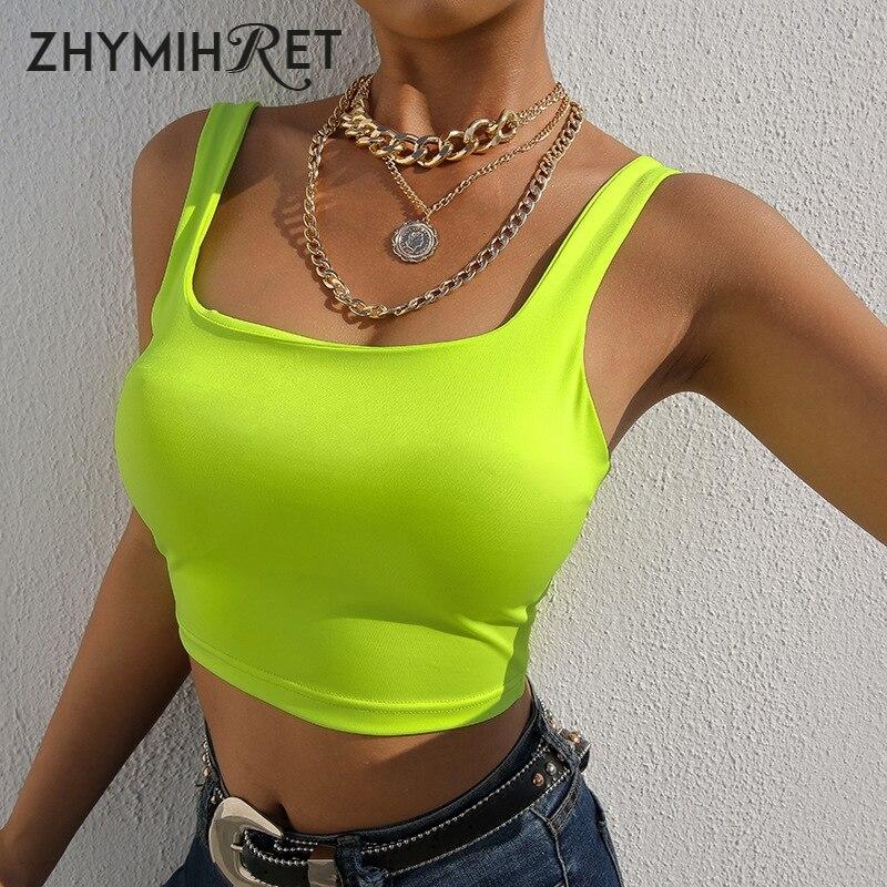 Zhymihut, verano 2019, camisetas sin mangas de color verde neón brillante, Tops cortos de moda para mujer, Top de cuello cuadrado, Top de mujer Sexy fluorescente, Top tipo corpiño