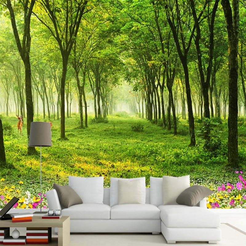 Qualquer Tamanho personalizado Mural Wallpaper 3D Natureza Cenário Verde Da Foto Da Árvore Papel de Parede Sala TV Sofá Fundo Da Parede Murais decoração