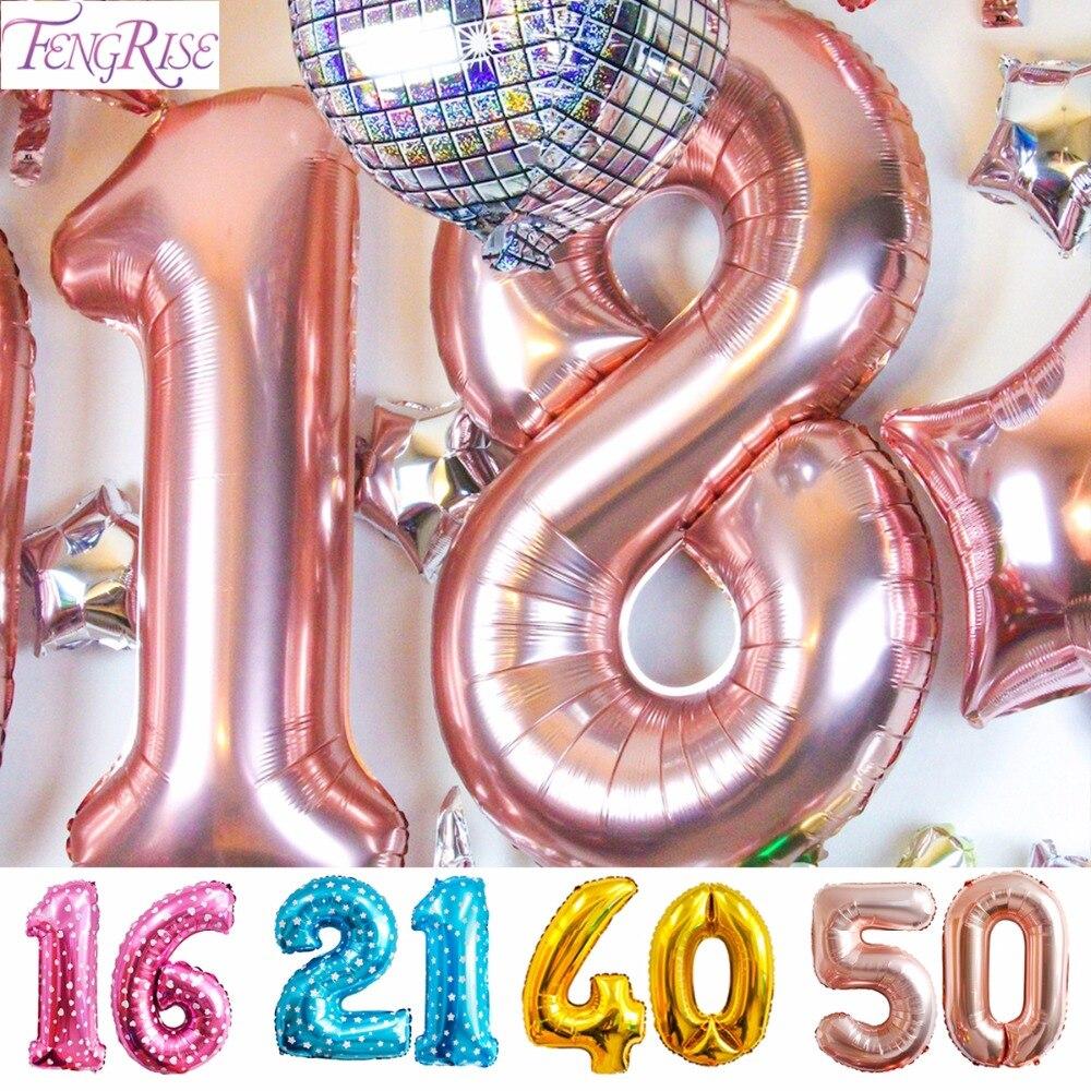 FENGRISE шампанское 16th 18th 20th 21st 30th 40th 50th День Рождения шар с золотым номером С Днем Рождения украшения для взрослых