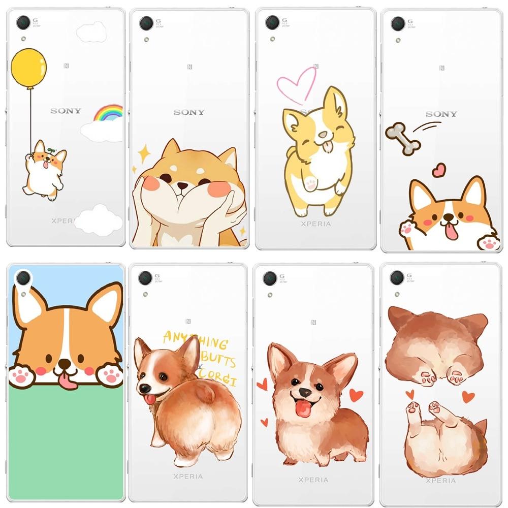 Newest Luxury Transparent Super Cute Corgi Case For Sony Xperia Z3 D6603 D6643 D6653 Sexy Cartoon Dog Ass Phone Cover