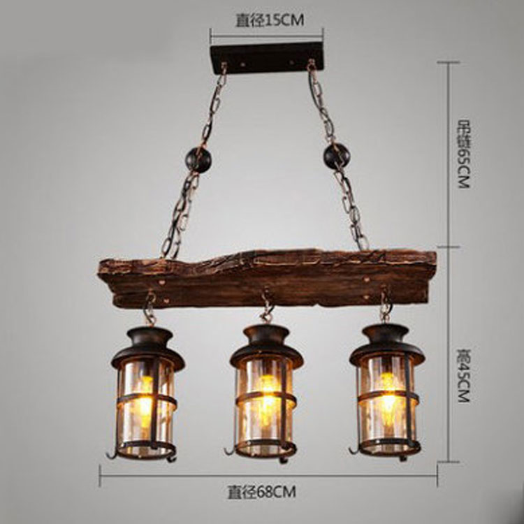 Original Design Retro Industrial Pendant Lamp 2/3 Heads Old Boat Wood American Country style Nostalgia Light  - buy with discount