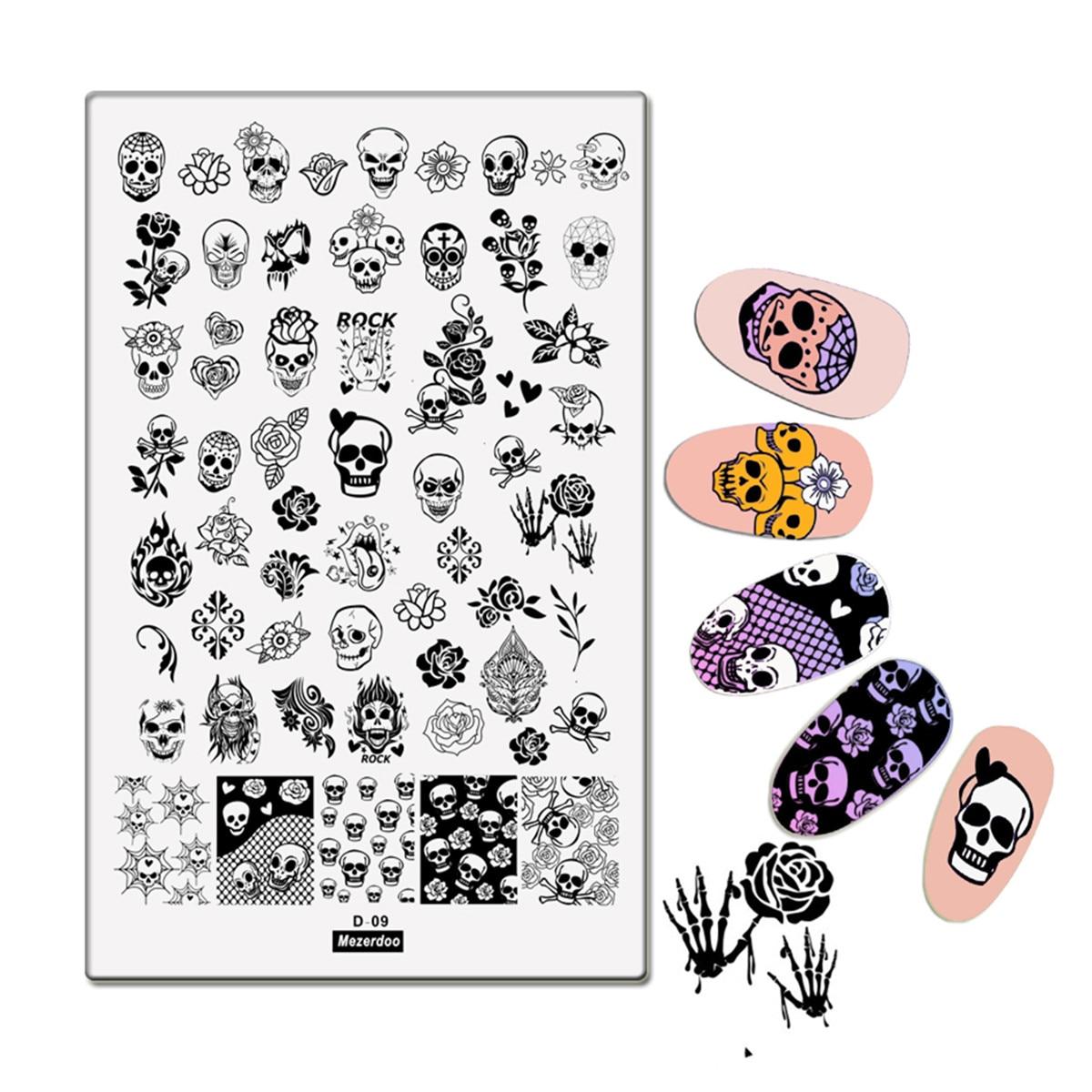 Rectángulo grande Placa de estampado Rock SKull Rose patrón manicura Halloween Nail Art Stamp imagen placa plantilla herramientas 9,5*14,5 CM D09