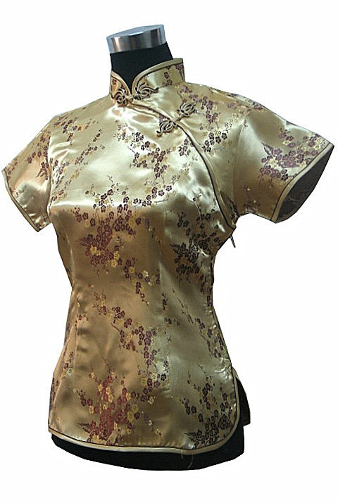 Nueva llegada oro moda china mujeres seda satén camisa verano manga corta blusa flores talla S M L XL XXL A008-E