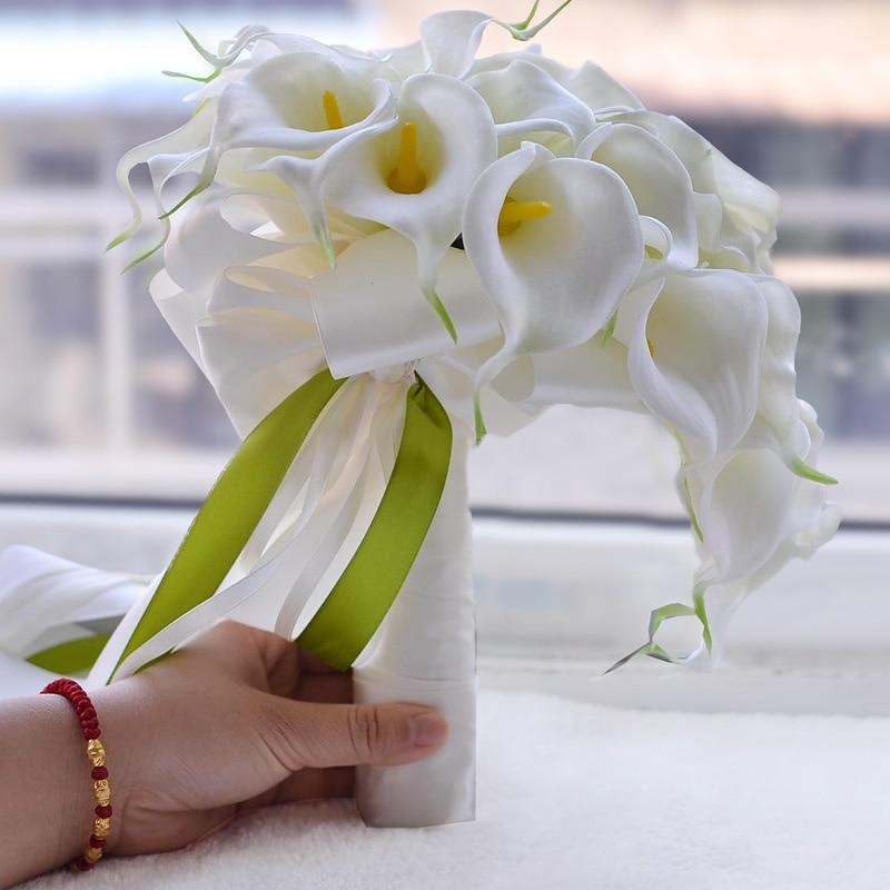 كالا الزنبق الأبيض الأصفر الزفاف باقة الزفاف القابضة الزهور الاصطناعية شلال راموس دي novia 2018 شحن مجاني