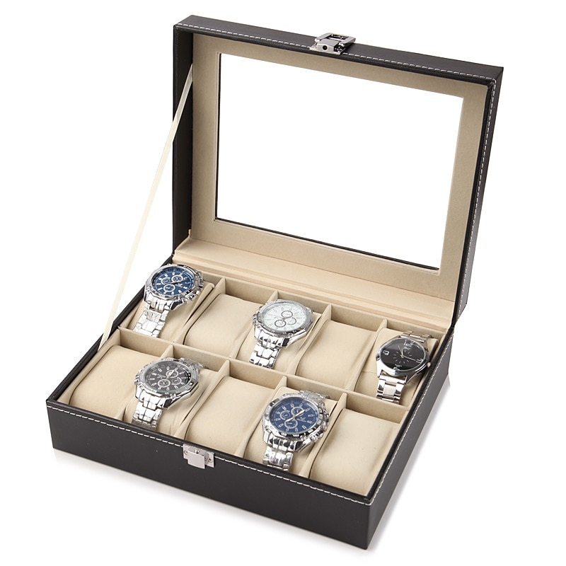 2/6/10/12 Slots PU Leather Watch Storage Box Organizer New Mechanical Mens Watch Display Holder Case