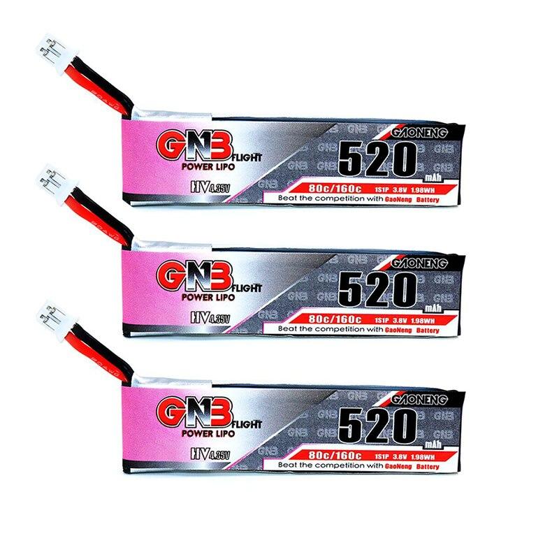 3 piezas GNB Gaoneng 520mAh 3,8 V 80C/160C HV Lipo batería con Walkera macho para WLtoys V930 piezas de Dron RC V977 XK K110