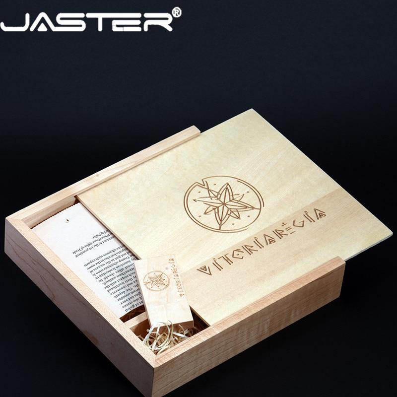 JASTER USB 2.0 photography wooden photo album usb+Box flash drive pendrive 4GB 8GB 16GB 32GB 64GB Pen drive (1pcs free LOGO)