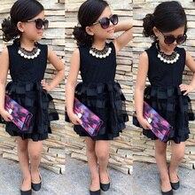2016 새로운 디자인 소녀 계층화 된 투투 드레스 아기 소녀 작은 검은 공주 드레스 어린이 파티 드레스 vestido 의류