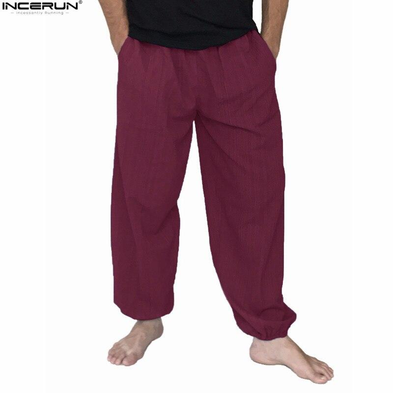 Plus Size 5XL Algodão Harem Pants Soltas dos homens Sólidos Casual Calças Largas Homens Nepal/Indiano Calças Dos Homens De Largura perna Calças Hip Hop Novo