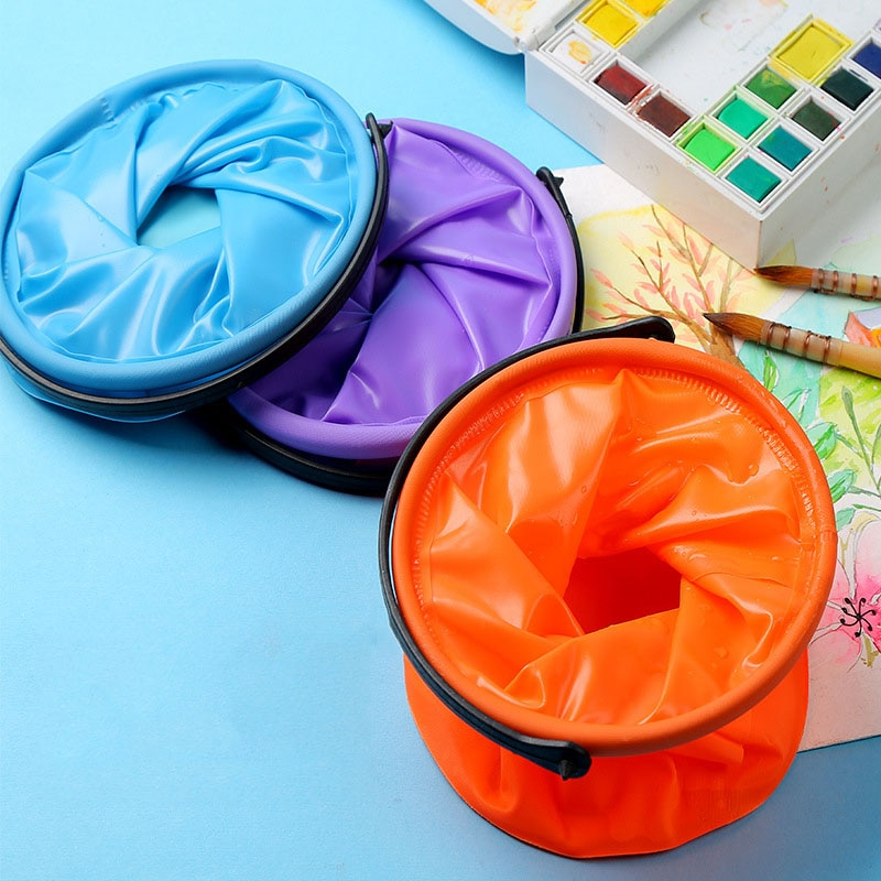High Capacity Foldable Canvas Painting Brush Washing Bucket Wash Pen Barrel Student Drawing Brush Washer For School Stationery
