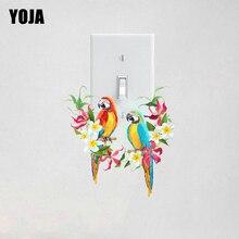 YOJA-joli autocollant perroquet à fleurs colorées   Étiquette murale pour salon et chambre à coucher, décor personnalisé, 10SS0131