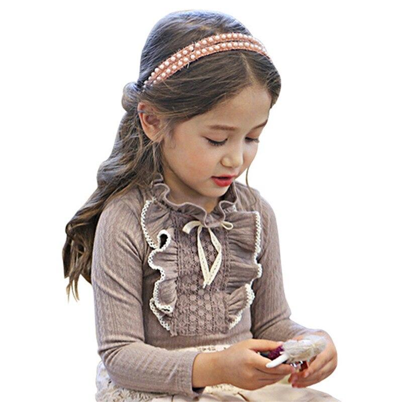 Кружевные рубашки для девочек, детская одежда, серые/белые осенне-весенние блузки, топы с длинными рукавами, футболки для девочек, блузки с б...