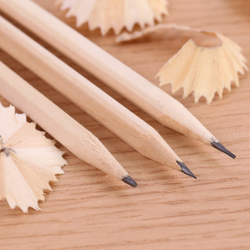 6 uds lápiz de madera Natural ecológico HB en blanco Hexagonal no tóxico lápiz estándar de dibujo papelería oficina escuela suministros
