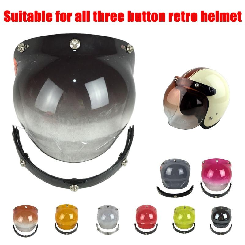 Motorcycle Vintage Bubble Visor 3 Pin Buckle lens for Helmet Motorbike Helmet Glass Lens