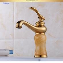 Dofaso antique bathroom faucet golden jade faucet Brass Jade Body 360 Swivel Bathroom Basin Faucet Hot&Cold Water Mixer Tap