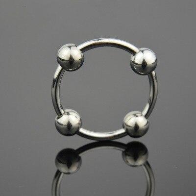 Metal aço inoxidável pênis anel de bloqueio quatro bola cabeça glans anel com esperma cum men 4 contas novo brinquedo móvel sexo