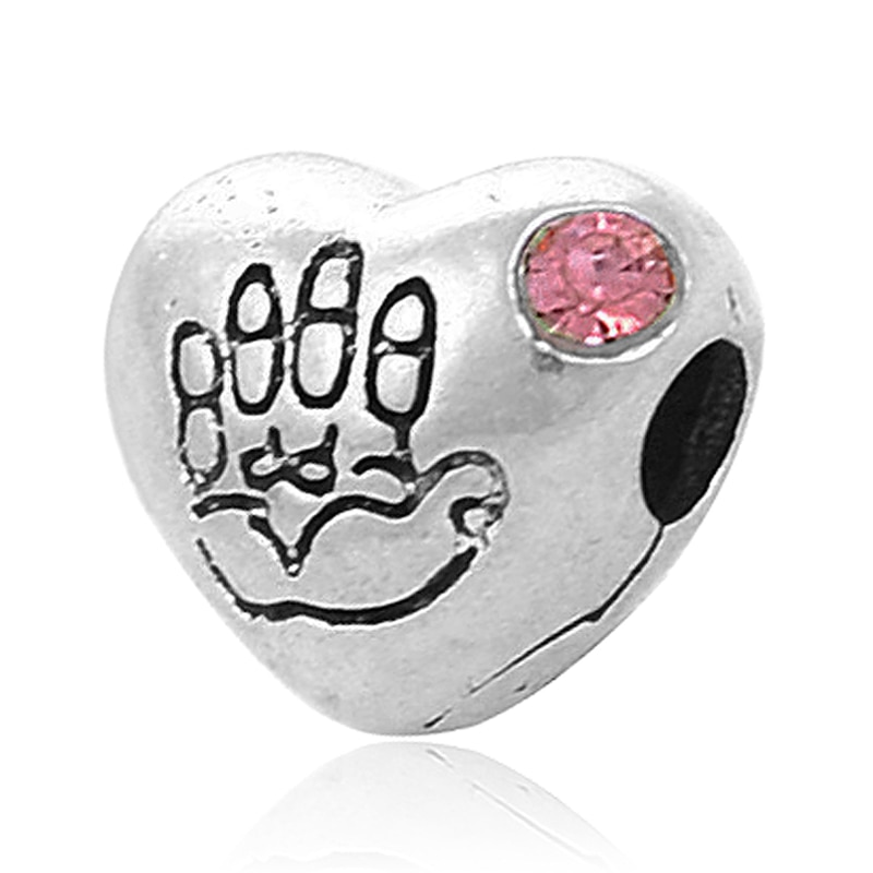 Free Shipping 1PC Crystal Hamsa Hand European Clip Stopper Beads Fits Pandora Charm bracelets & bangles Wholesale