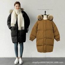 Winter Jacket Female Coat 2019 New Fur collar Warm Loose Down Parka Casual Long hoodie Down Cotton Jacket Women Parkas