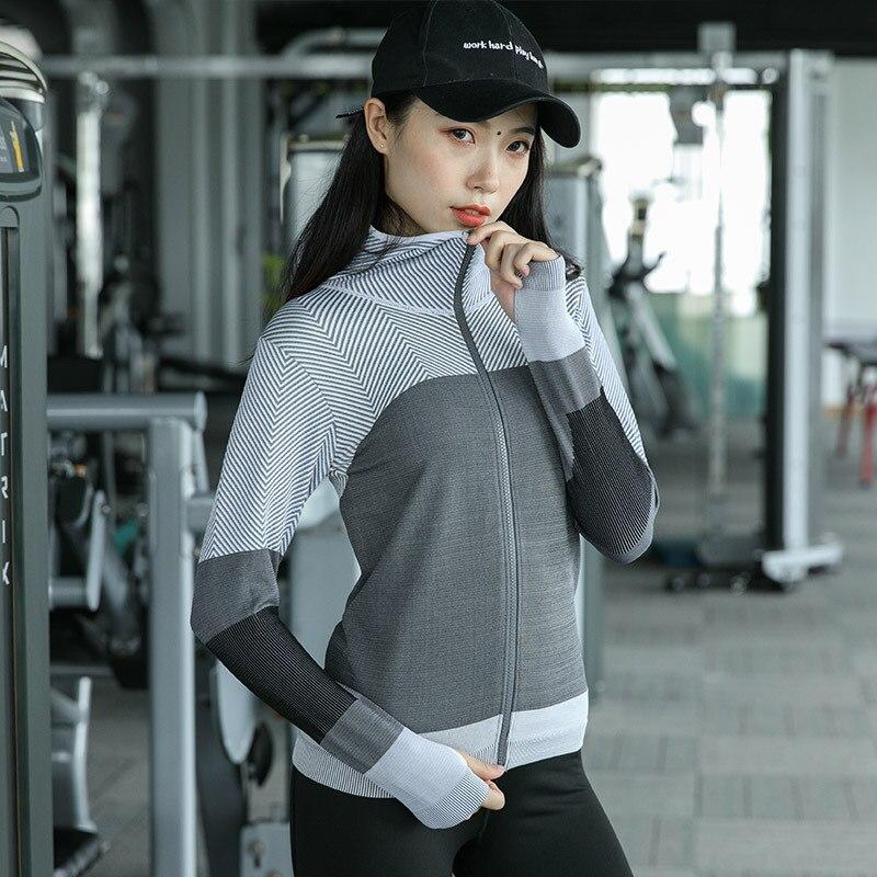 Femmes à capuche course veste à manches longues sweat à capuche dames Yoga hauts sport fermeture éclair veste Fitness gymnase chemises vêtements