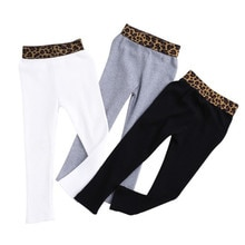 Girls Leopard Waist Vertical Tthreaded Cotton Leggings Wear Thin Feet Qants 2019 Spring Models Fake Self-cultivation