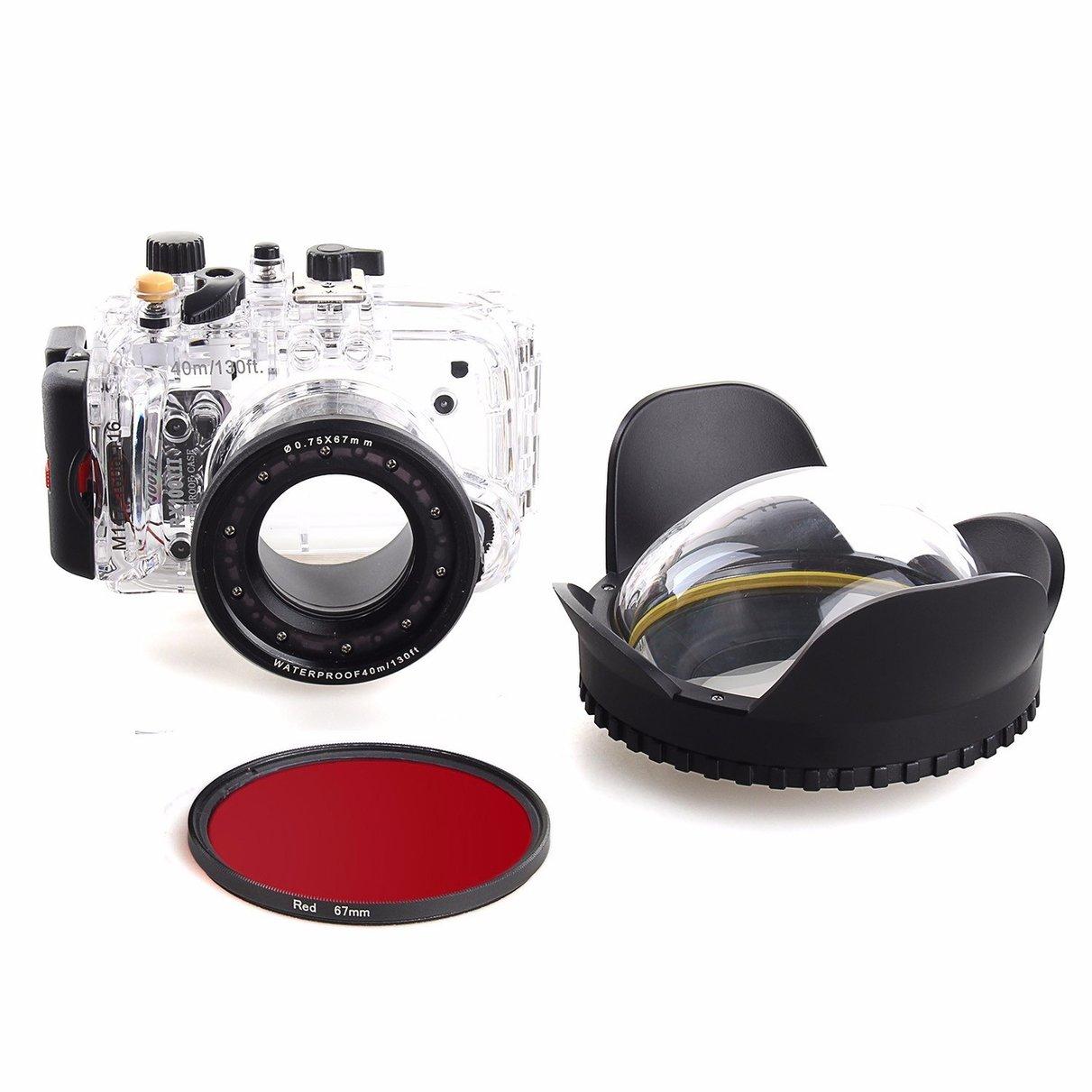 40 m/130f carcasa subacuática impermeable para Sony RX100 III + 67mm filtro rojo + 67mm Puerto domo de lente de ojo de pez