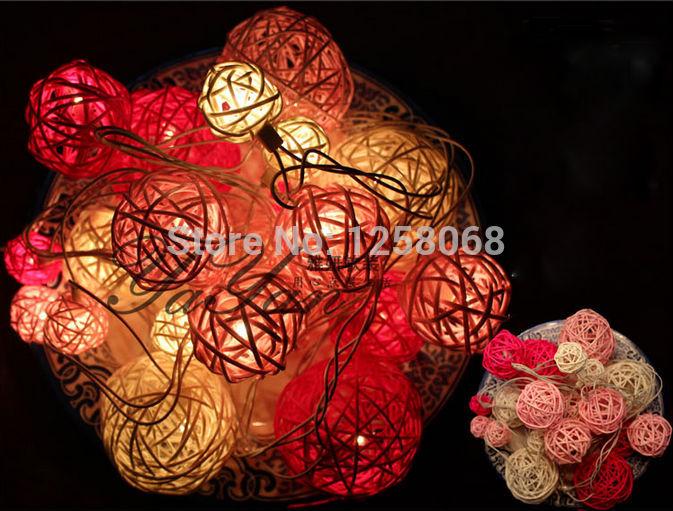 2.5m 20leds LED Luminaria Decoration Garland Cotton Ball String Lights Christmas New Year Holiday Party Wedding