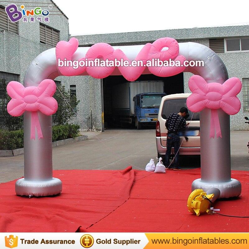 8 Feets alto encantador inflable entrada boda arco con letras de amor rosa y lazo rosa para boda Día de San Valentín decoración