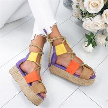 ADBOOV Peep Toe plate-forme sandales femmes corde plate sandales Sandalias Mujer 2019 grande taille 41 42 43