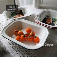 Plateau de cuisson rectangulaire en fer émail   Avec bords rouges et bleus/plateau familial rétro/plats, plaques de cuisson à la vapeur 1 pièce/lot