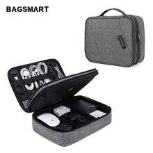 BAGSMART السفر الالكترونيات اكسسوارات حقيبة مزدوجة طبقة منظم تخزين حقيبة للآي باد شاحن أوقد كابل بيانات USB سماعة