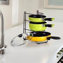 4 couches fer Pan Pot support multi-fonctionnel ustensiles de cuisine étagère de rangement Pan couverture support support cuillère cuisine organisateur outil