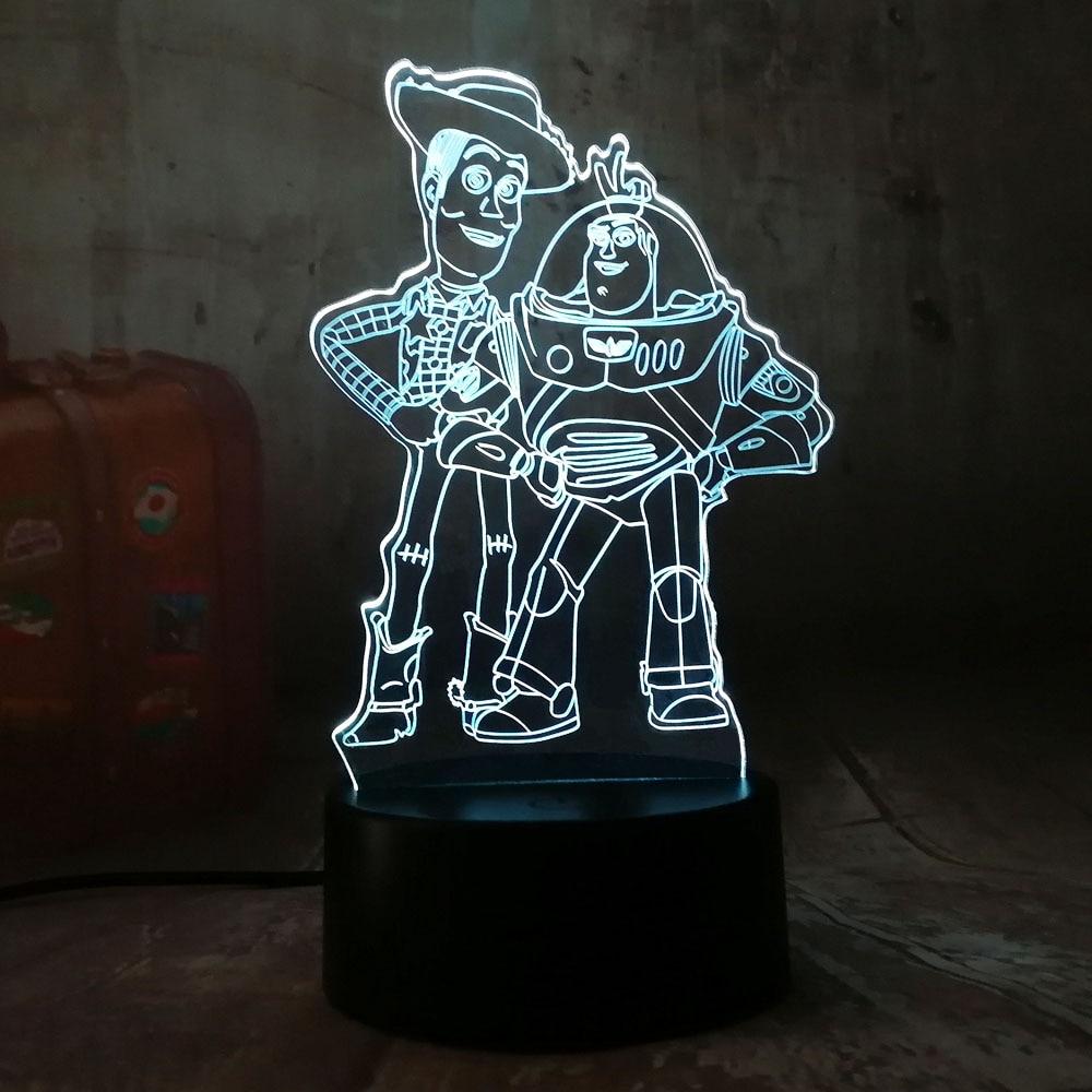 Adorable Toy Story, Buzz Lightyear, Woody, 3D, LED RGB, luz de noche, 7 colores, lámpara de escritorio para dormir de bebé, lámpara de Navidad para niños, decoración para dormitorio