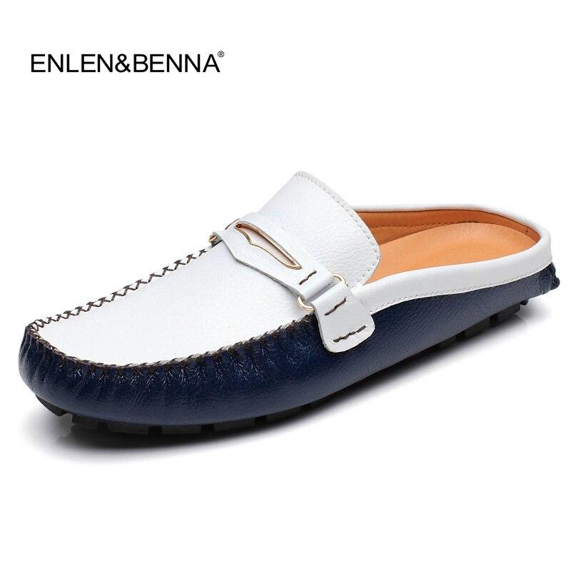 Men Sandals 2019 Summer half slippers men shoes Genuine Leather beach sandals causal lazy slipon men slides flip flops Moccasins