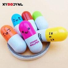 XYDDJYNL 6 pièces mignon souriant visage pilule stylo à bille crayons télescopique vitamine Capsule stylo à bille pour fournitures de bureau scolaire